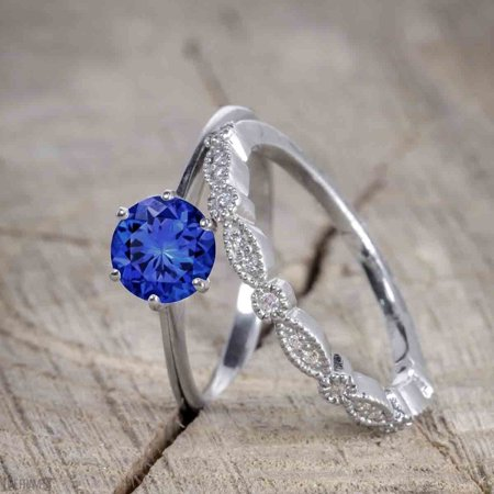 Antique Art Deco 1.25 Round Cut Sapphire and Diamond Wedding Ring Set in White Gold Antique Art Deco Ring