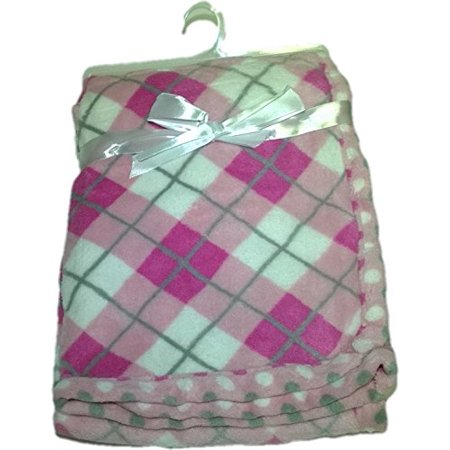 LuxClub Premium Super Plush 30 x 40 Baby Blanket with Colorful Print-Plaid Pink - Colorful Baby