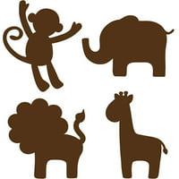WallPops Baby Jungle Silhouettes Decals, Espresso Brown