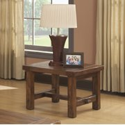 Emerald Home Chambers Creek Brown End Table with Plank Style Top And Straight Timber Legs