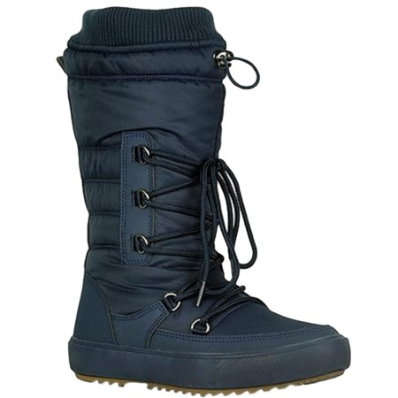 Youth-01 Women Waterproof Warm Hiking Snow Rain Winter Mid Calf Drawstring Boot Navy