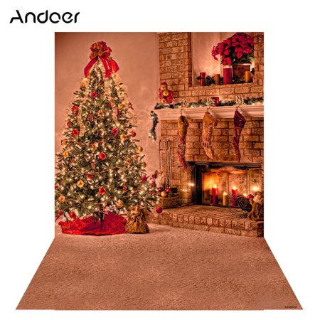 Andoer 1.5 * 2m Photography Background Backdrop Digital Printing Christmas Tree Fireplace Pattern for Photo Studio - Christmas Backgrounds For Photography
