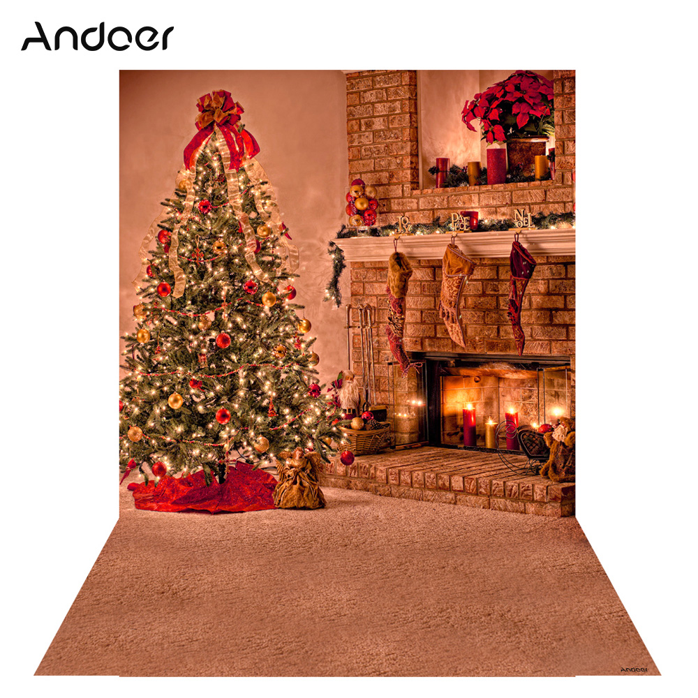 Andoer 1.5 * 2m Photography Background Backdrop Digital Printing Christmas Tree Fireplace Pattern for Photo Studio