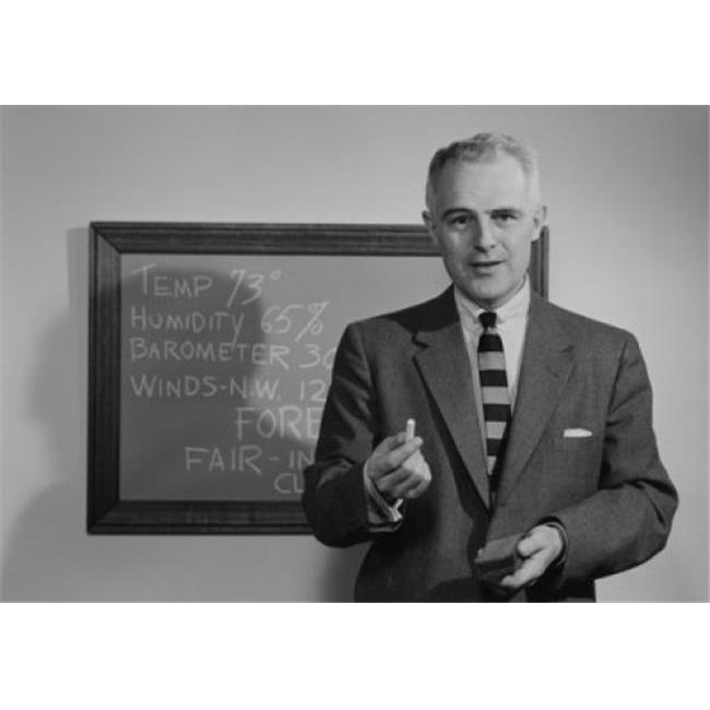 Posterazzi SAL255419013 Weather Presenter in Front of Blackboard Poster Print - 18 x 24 in. - image 1 of 1