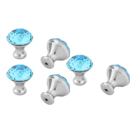 Uxcell Home Acrylic Faux Diamond Cabinet Bookcase Drawer Pull Handle Knobs Blue 6pcs ()