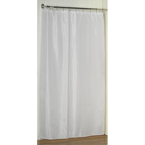 "Stall size 100% Polyester fabric shower curtain liner with weighted bottom hem, 54"" wide x 78"" long, color White"
