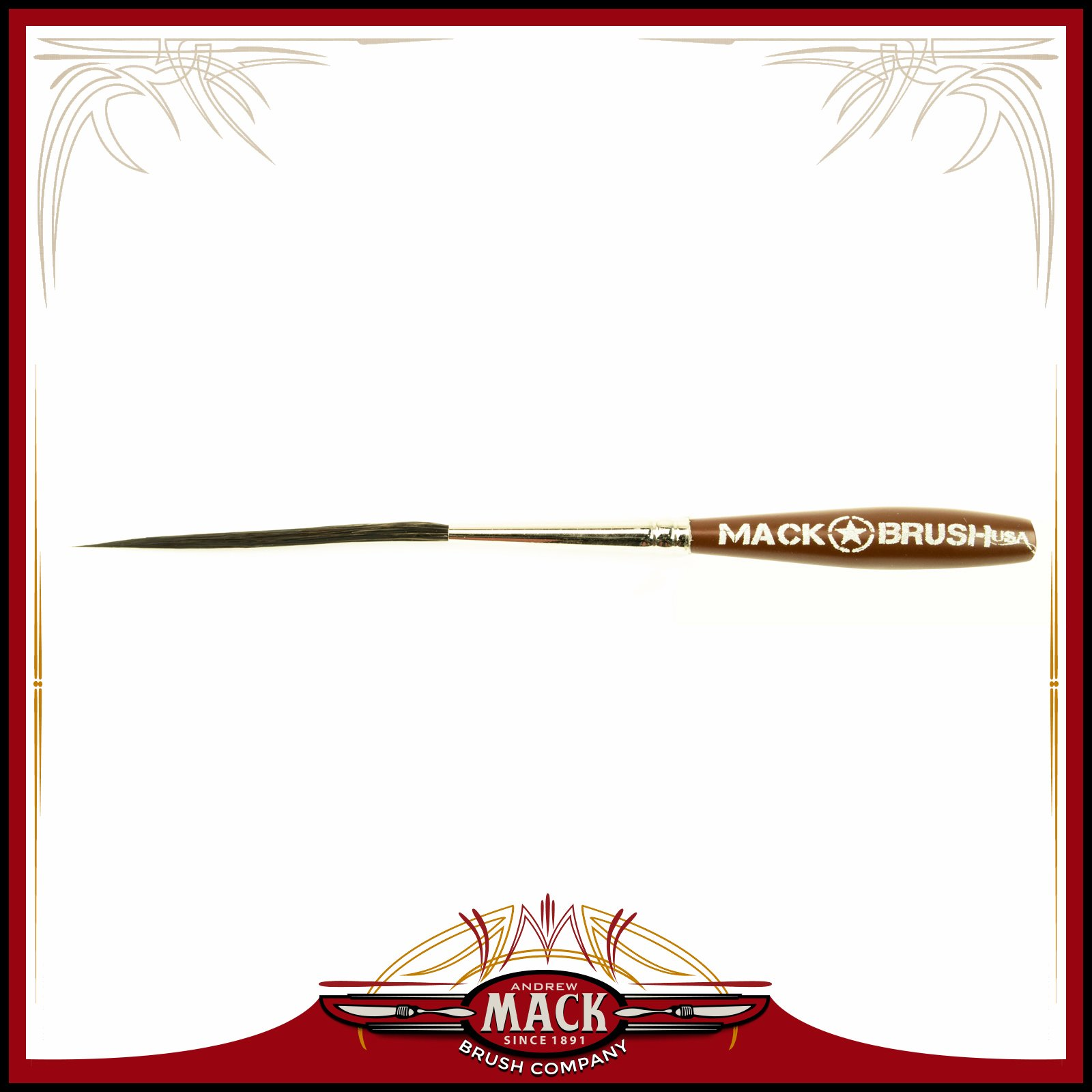 Andrew Mack Series Long Bob Pinstriping and Scrolling Brush Black Synthetic & Blue Squirrel Blended Size 000 - 2