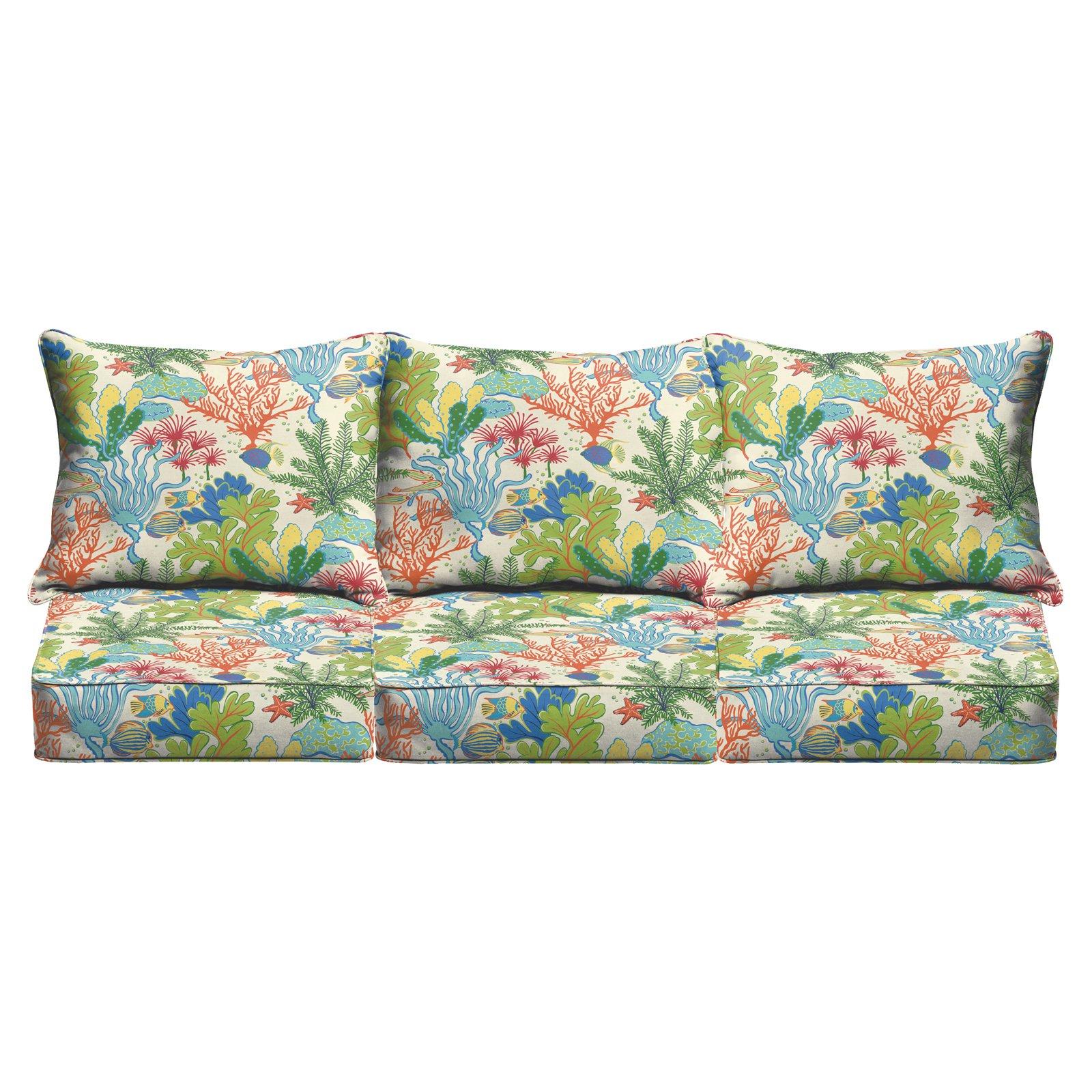 Mozaic Company Splish Splash Terrace 6 Piece Outdoor Corded Sofa Pillow and Cushion Set