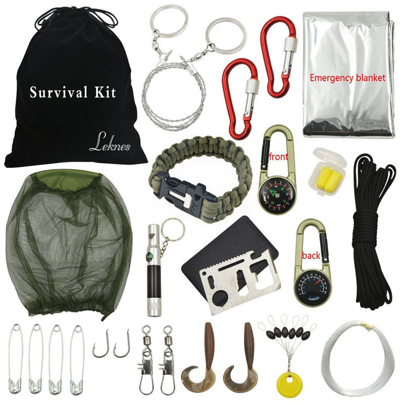 Outdoor Hiking Camping Emergency Survival Kits Tool Set First Aid Equipment Gear