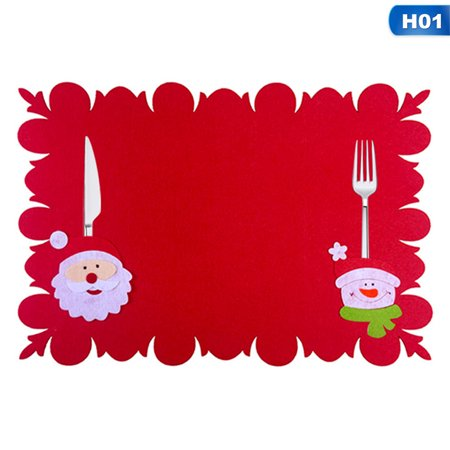 Christmas Place Settings (Michellem 1Pc Christmas Dinner Mat Placement Food Mats Santa Claus Snowman Reindeer Pattern Table Setting Dining Knife and Fork)