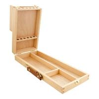 US Art Supply Wooden Flip Opening Artist Brush & Tool Box Drawing Painting