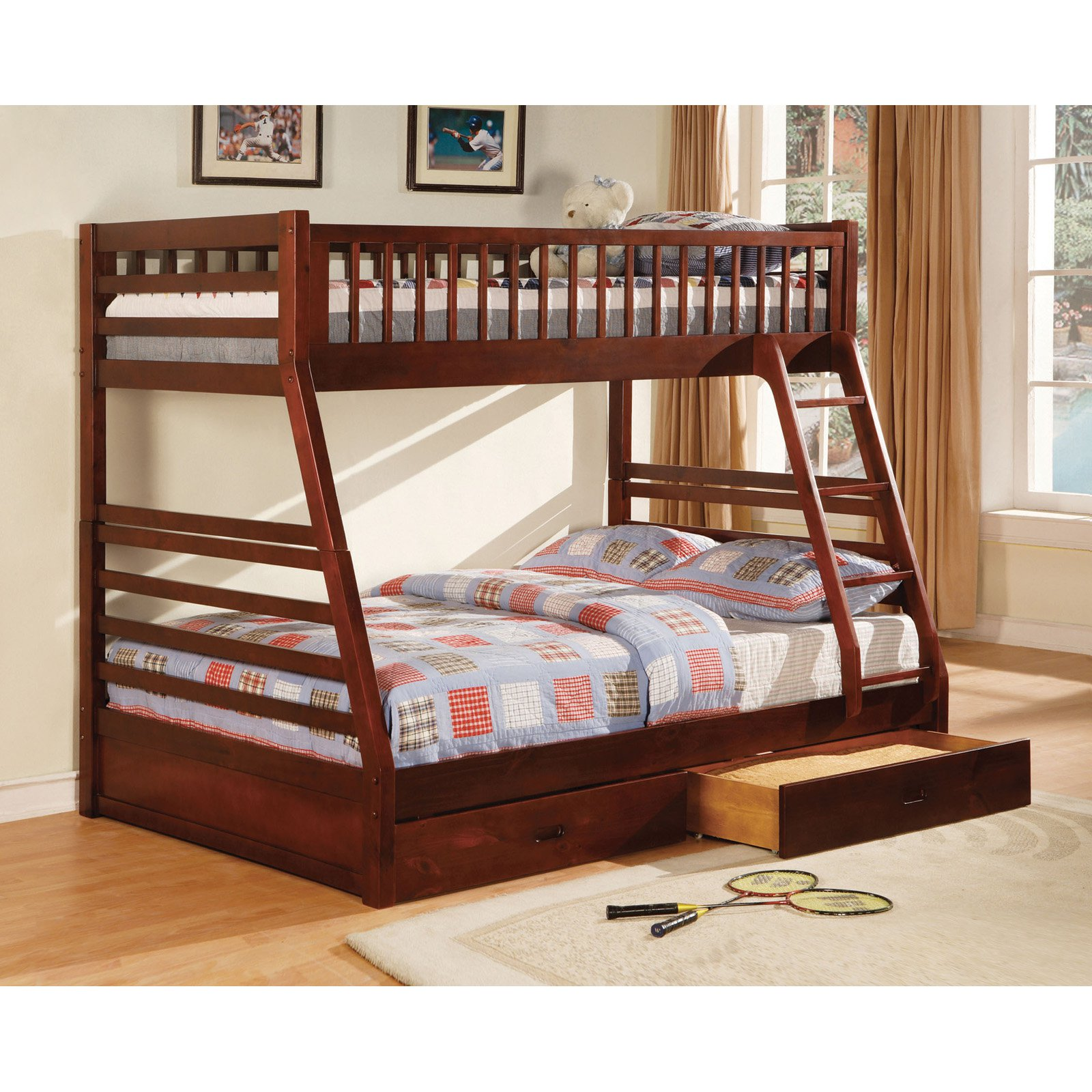 Furniture of America Twin over Full Bunk Bed with Storage
