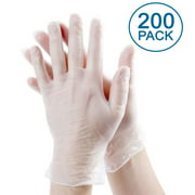 [200 Pack] Medium Vinyl Disposable Gloves - Non Latex Rubber, Powder Free, Food Grade Safe Supplies, Hand Glove Dispenser Pack