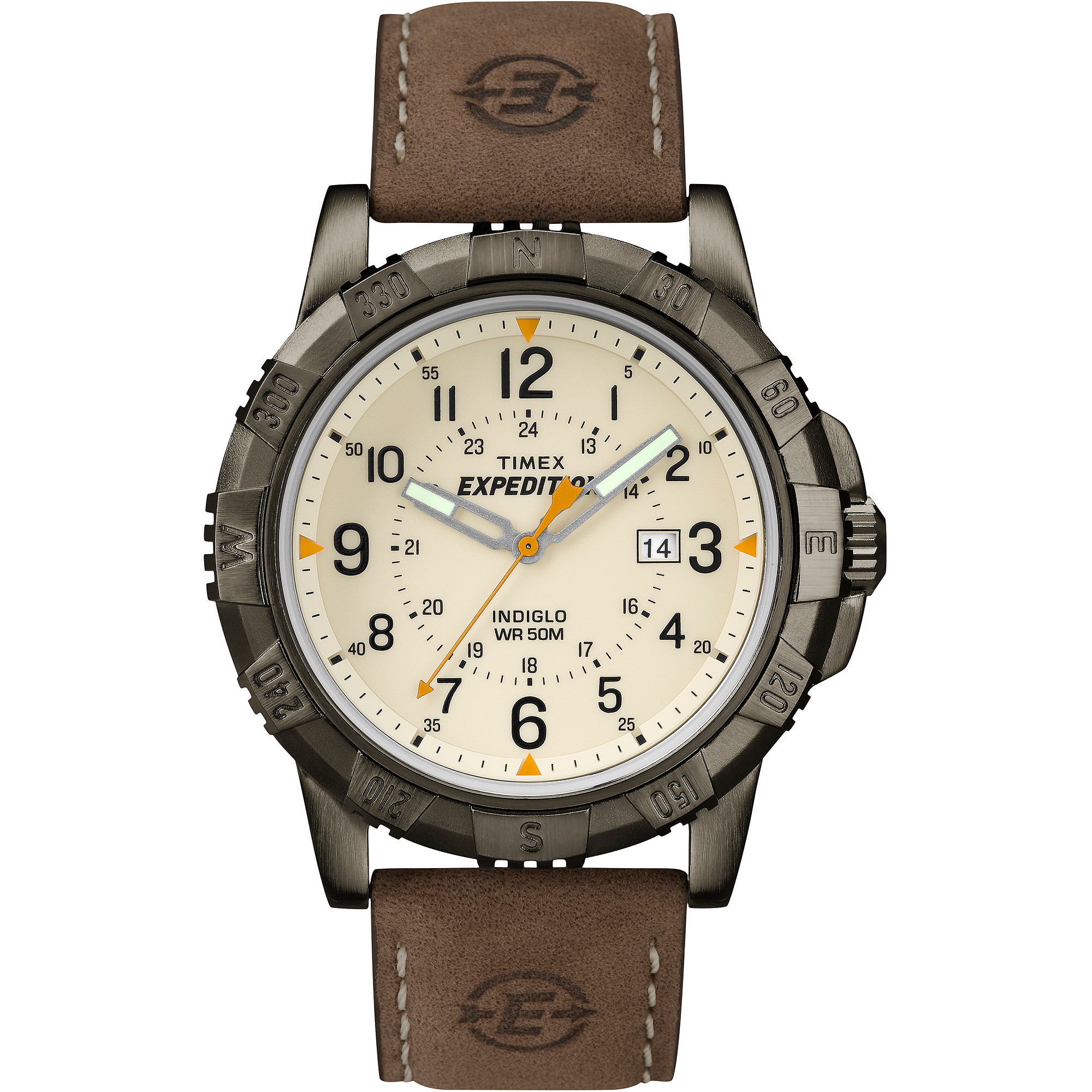 Timex Men's Expedition Rugged Metal Field Watch, Brown Leather Strap by Timex