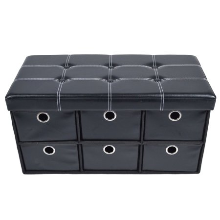 Traditional Elegance Collapsible 6 Drawer Storage Ottoman - Black Faux Leather 30x15x15