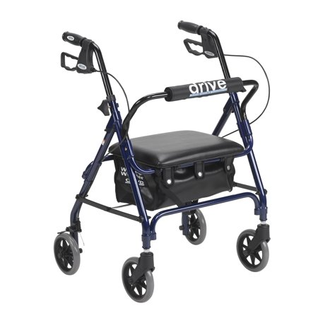 Drive Medical Junior Rollator Rolling Walker with Padded Seat, Blue