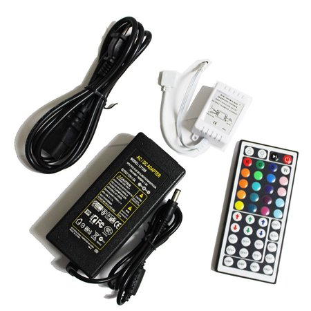 LED4Everything (TM) 44 key IR Remote Controller + 5A Power Supply for 3528 5050 RGB LED Strip (Chasing Rope Light Controller)
