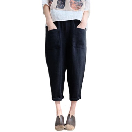 Womens Harem Cotton Linen Elastic Waist Loose Casual Pants Pockets Trousers