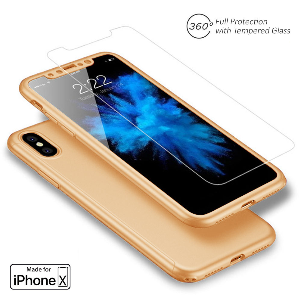 Indigi Apple iPhone X 10 Tempered Glass Screen 360 Full Body Protective Case Cover Gold
