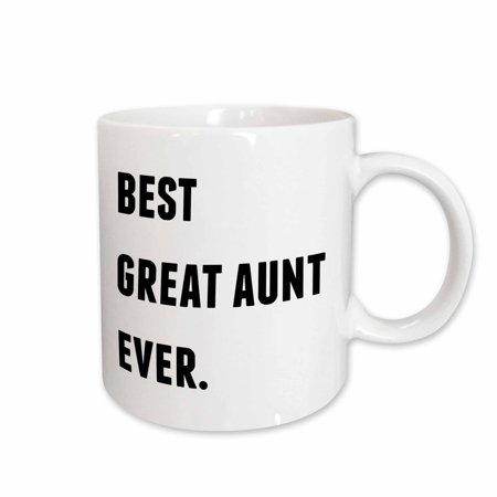 3dRose Best Great Aunt Ever, Black Letters On A White Background - Ceramic Mug,