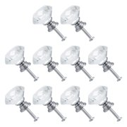 30mm Crystal Knobs Wardrobe Dresser Door Knobs Pull Handle Knob for Home Kitchen Drawer Cupboard 10pcs (Clear)