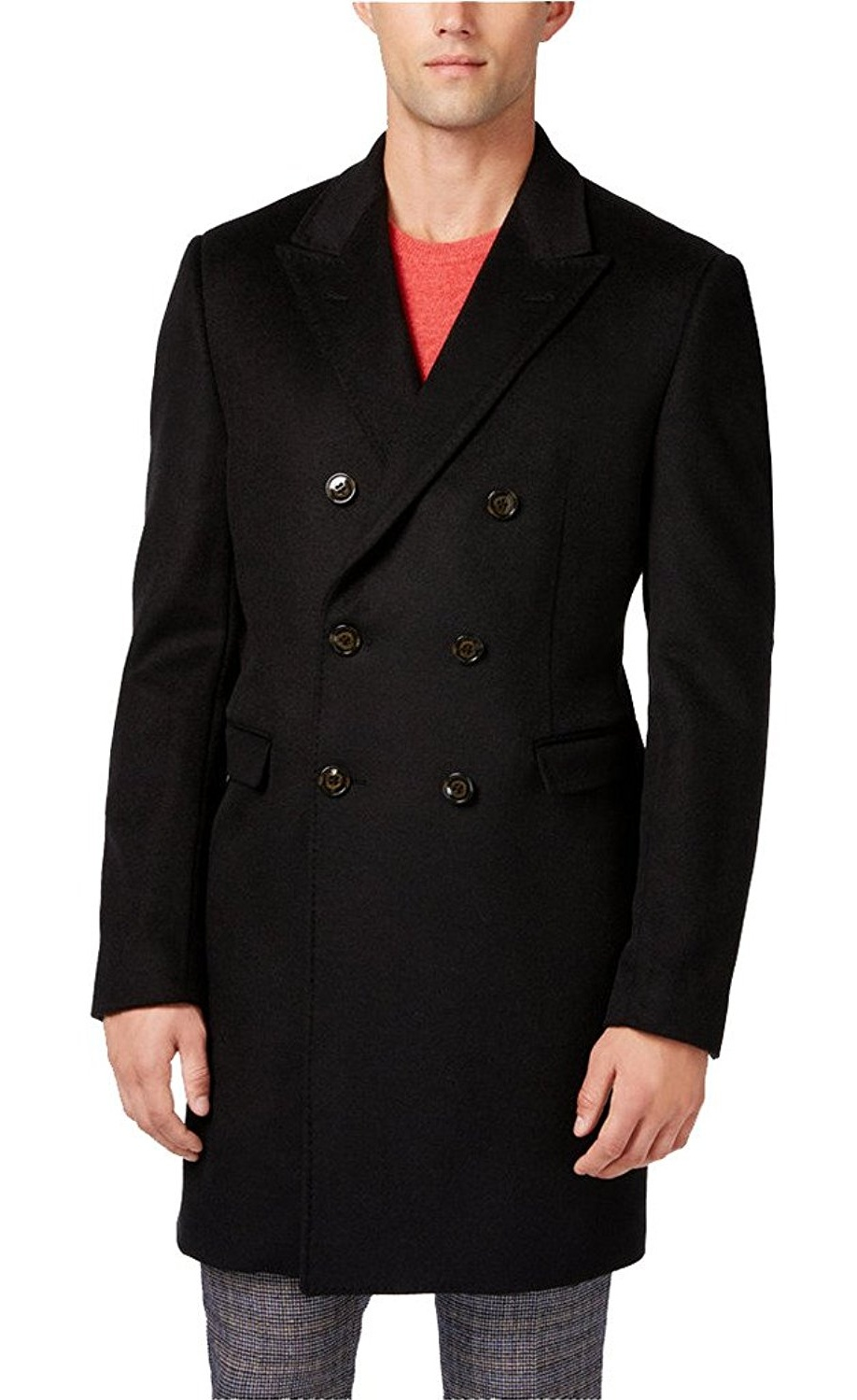 Ralph Lauren Men's Lawrenceville Topcoat Double-Breasted Wool Blend Solid Overcoat by