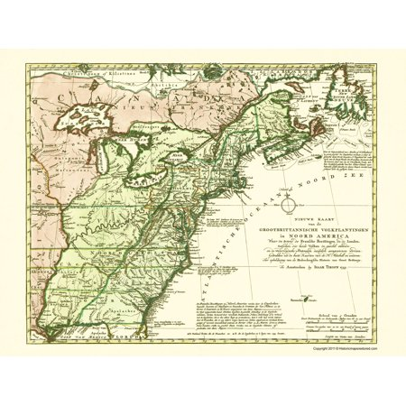 Old Revolutionary War Map - Great Britain Colonies 1755 - 23 x 25.73 ...