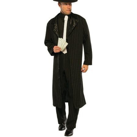 Mens 20s Underground Mobster Boss Black Pinstripe Suit - 20s Mens