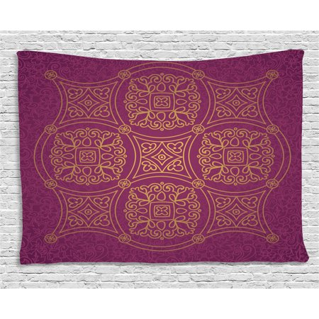 - Purple Mandala Tapestry, Persian Ornamental Lace Pattern Traditonal Authentic Islamic Folk Boho Design, Wall Hanging for Bedroom Living Room Dorm Decor, 60W X 40L Inches, Gold, by Ambesonne