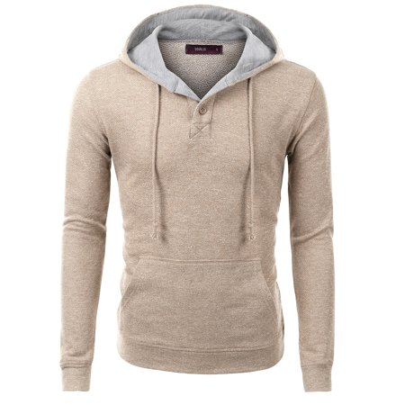 Doublju Men's Long Sleeve Henley Neck Hoodie - Gray Mlb Sweatshirt