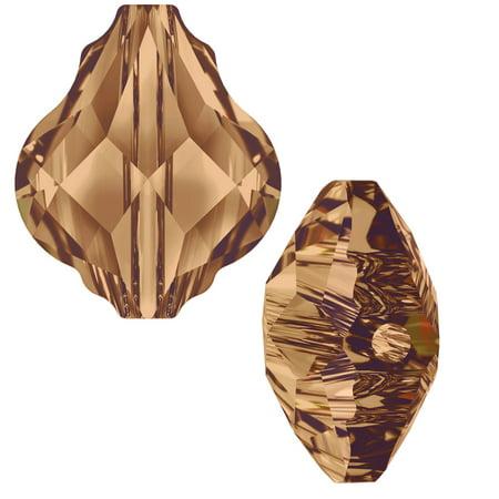 Beaded Two Piece (Swarovski Crystal, #5058 Baroque Bead 10mm, 2 Pieces, Light Smoked Topaz)