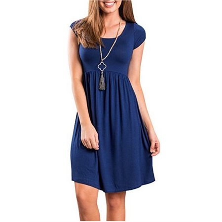 10 Colors Short Sleeve Solid Color Women Casual Mini Dress - Blue Jumpsuit