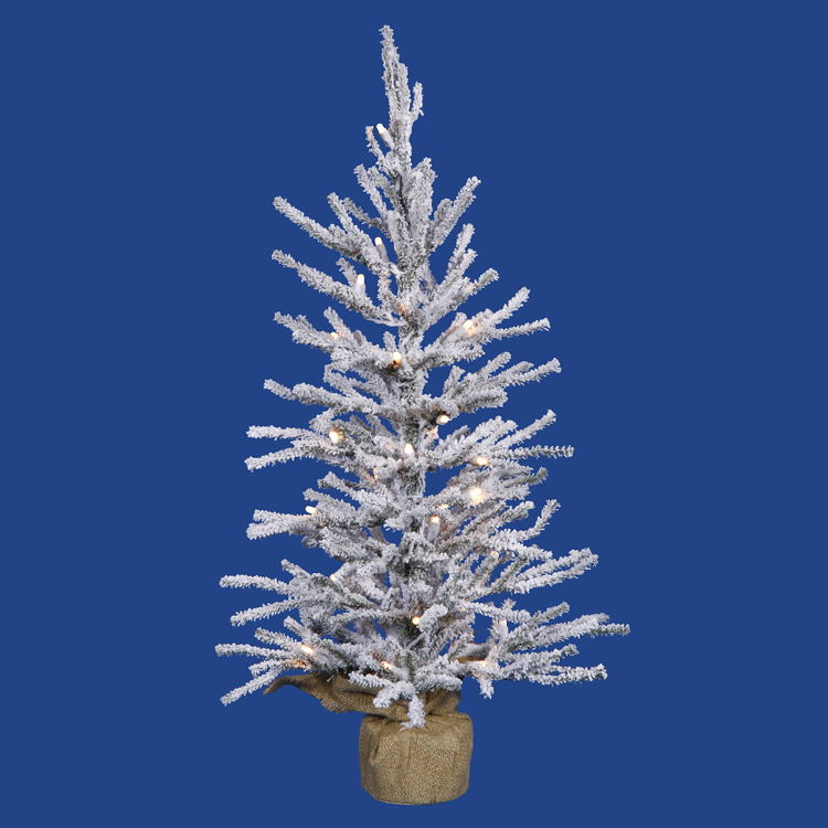 4' Full Flock Pine Artificial Christmas Tree - Unlit