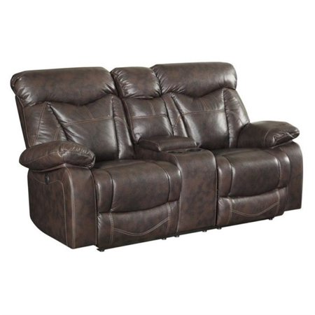 Astounding Bowery Hill Faux Leather Power Reclining Loveseat In Brown Machost Co Dining Chair Design Ideas Machostcouk
