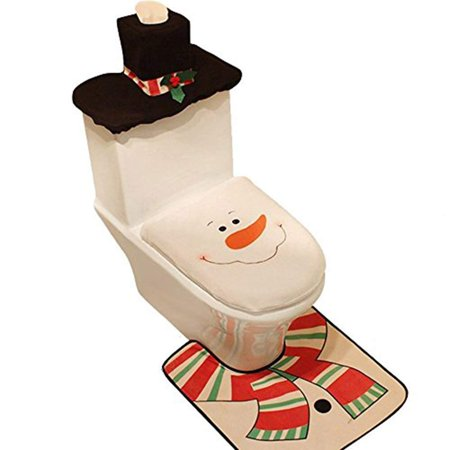Toilet Tank Cover and Rug Set with Snowman Tank Lid Cover, Floor Rug Mat and Tissue Box Cover for Christmas Bathroom Decoration - Set of 3 (Snowman) - Snowman Classroom Door Decorations