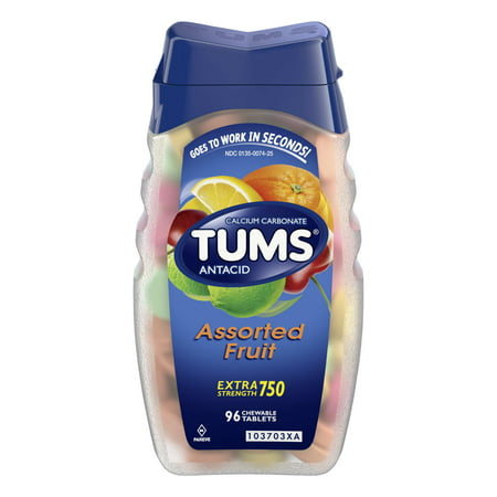 (2 Pack) Tums antacid chewable tablets for heartburn relief, extra strength, assorted fruit, 96