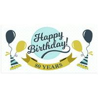Teal Polka Dots 80th Birthday Banner