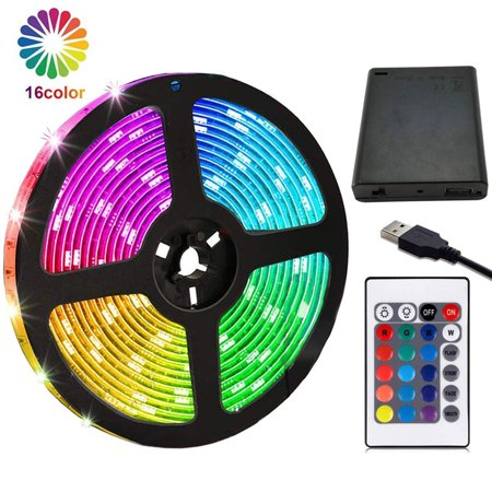 EEEKit LED Strip Lights Battery Powered, 6.6FT/2M RGB LED Light Strip SMD5050 LED Rope Lights Color Changing Flexible LED Strip Kit with 24 keys IR Remote for Home Bedroom DIY Party Indoor Outdoor