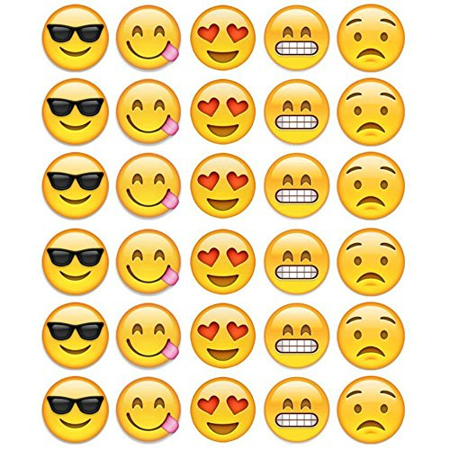 Emoji Faces Edible Frosting  Image Cupcake Toppers  30ct.