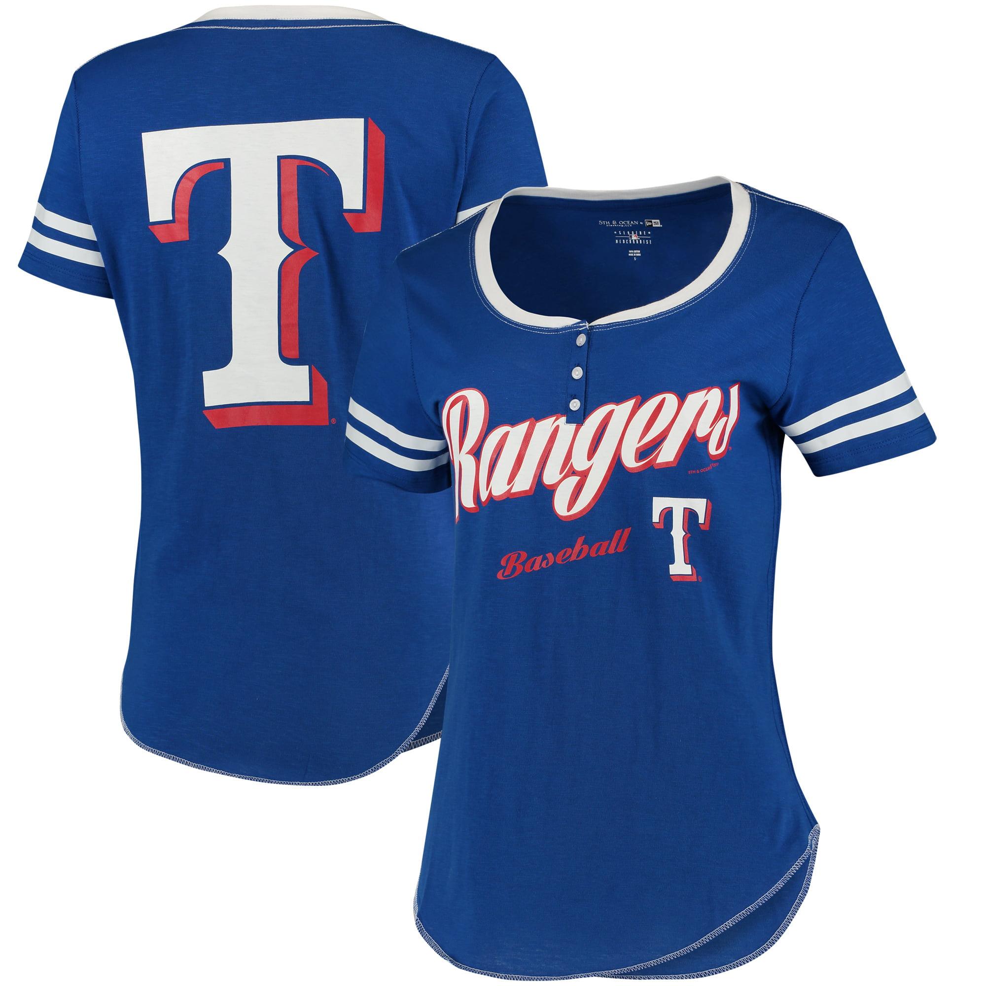 Texas Rangers 5th & Ocean by New Era Women's Slub Henley T-Shirt - Royal/White