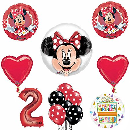Minnie Mouse 2nd Birthday Party Supplies and Red Bow 13 pc Balloon Decorations (Minnie Mouse Birthday Decorations)