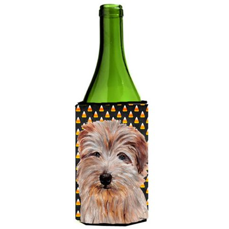 Norfolk Terrier Candy Corn Halloween Wine bottle sleeve Hugger  24 - Wine Bottle Cork Halloween Costume