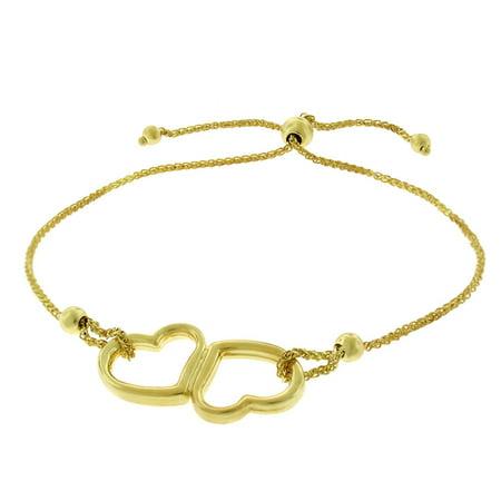 14K Yellow Gold Womens Fancy Double Heart Charm Adjustable Slider Bracelet Chain - Gold Bracelet Charms