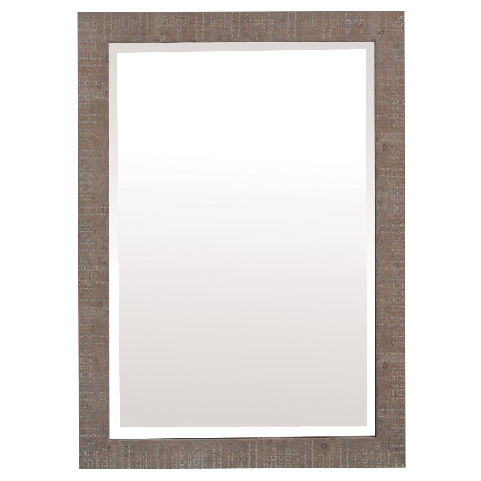 Yosemite Home Shallow Brown Texture Wood Framed Wall Mirror by Yosemite