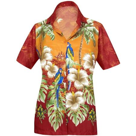 LA LEELA Women's Beach hawaiian button down blouse casual tank top aloha Shirt Orange_X50 (Women's Hawaiian Blouses)