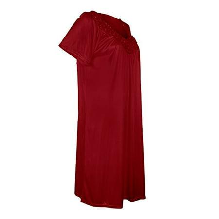 301d03cbf3ef54 Women's Satin Silk Short Sleeve Sequins Nightgown By EZI