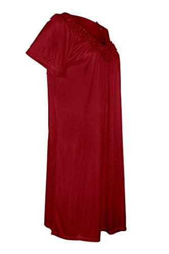 Women's Satin Silk Short Sleeve Sequins Nightgown