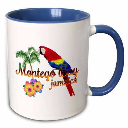 Montego Wine - 3dRose Island souvenir in Jamaican colors for Montego Bay, Jamaica. - Two Tone Blue Mug, 11-ounce