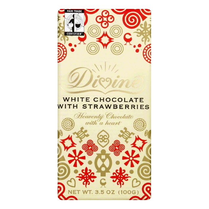 Divine Chocolate White Chocolate Bar with Strawberry, 3.5 OZ (Pack of 10) by