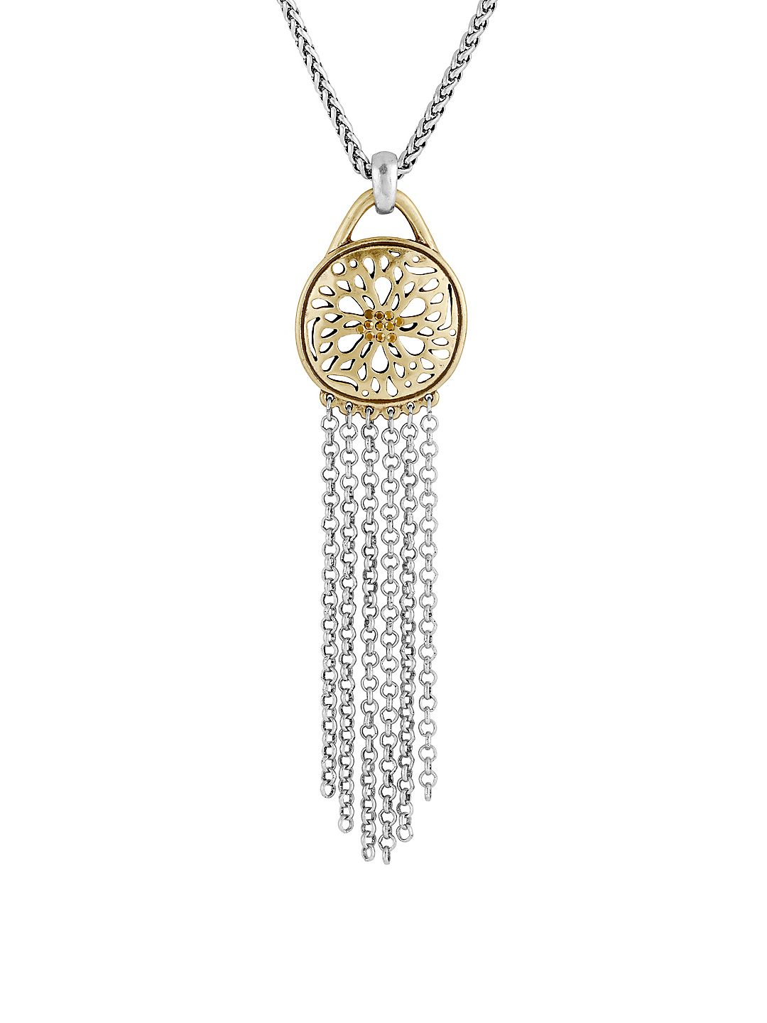 Pave Holiday Luxe Rock Crystal Two-Tone Sugar Plum Fringe Pendant Necklace